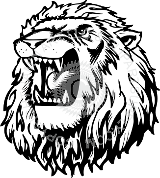 Drawing lions ink. Roaring lion head at