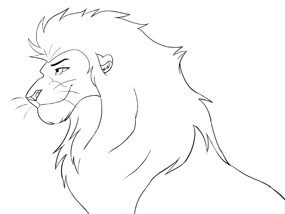Drawing lions male lion. Free lineart head by
