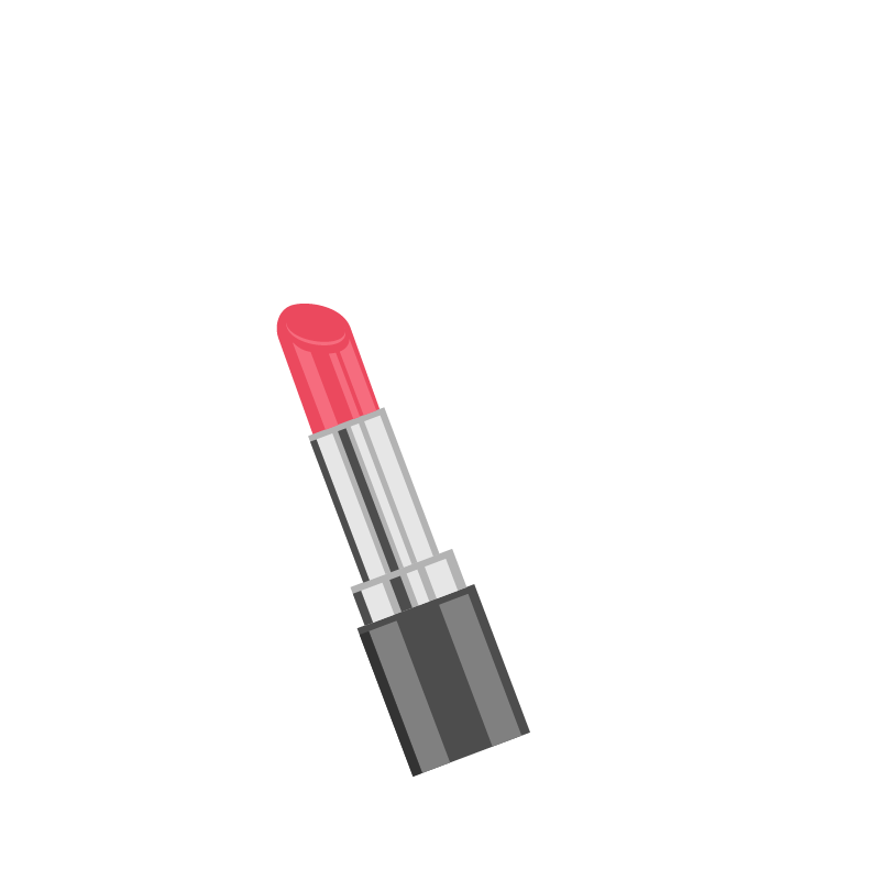 Drawing accessory makeup. Lipstick make up animation