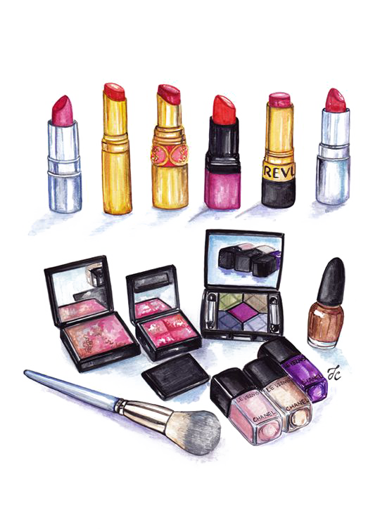 Drawing mac makeup. Cosmetics lip gloss illustration