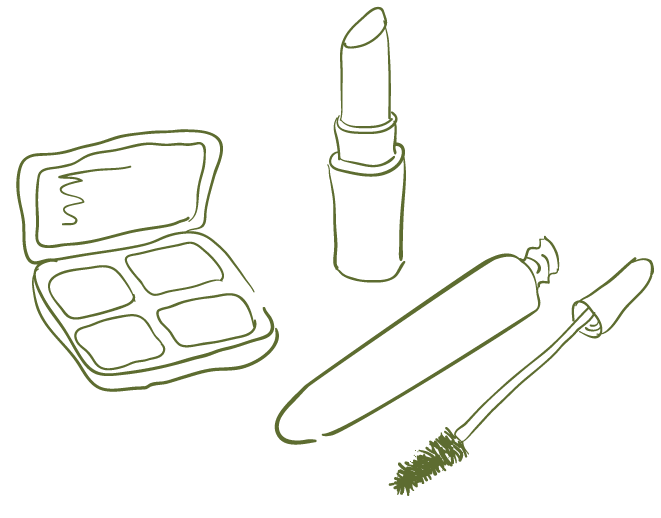 Drawing lipstick outline. Collection of makeup