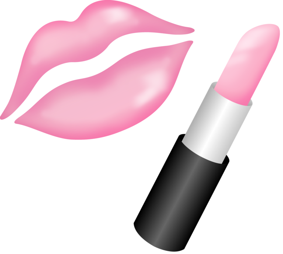 Drawing lipstick simple. Kissing lips with pink