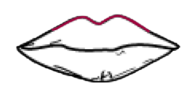 Drawing lipstick sketch. Two tone and ombre