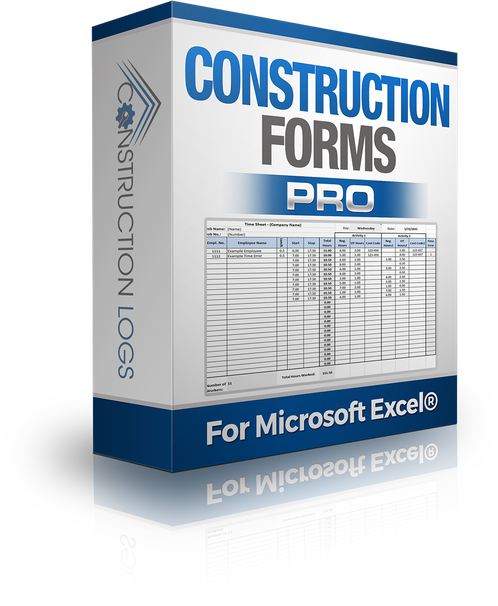 Drawing log excel. Construction forms package logs