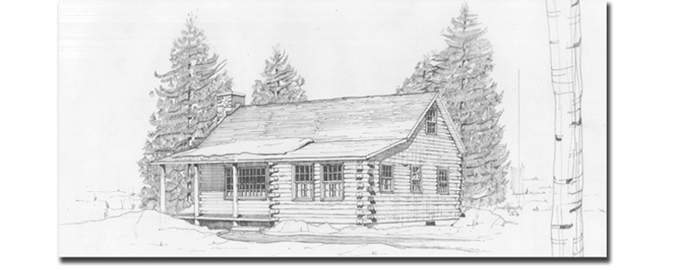 Drawing logs sketch. Design real log homes
