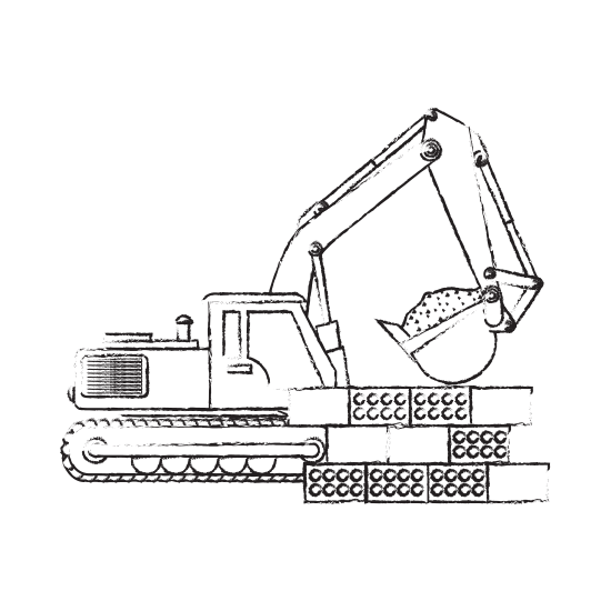 Drawing machinery pen. Construction vehicle icons by