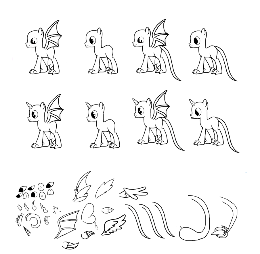 Mlp lineart male dragon. Drawing males svg free stock