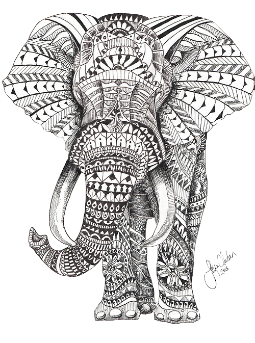 Tangle drawing elephant. Transparent pictures for stickers