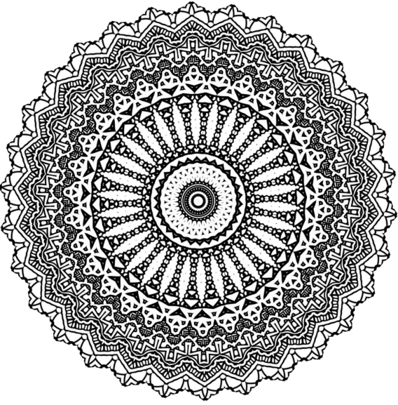 Drawing mandala ink. Spinning doodle by kathyahrens