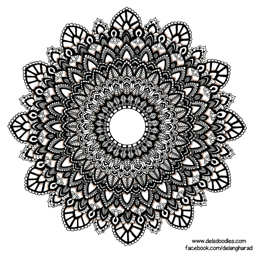 Drawing mandala ink. Hand drawn by welshpixie
