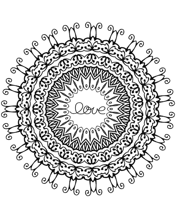 Love zentangle inspired mandala. Tangle drawing pattern inside clip download