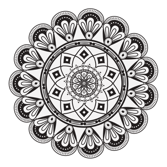 Drawing mandala spiritual. Symbol icons by canva