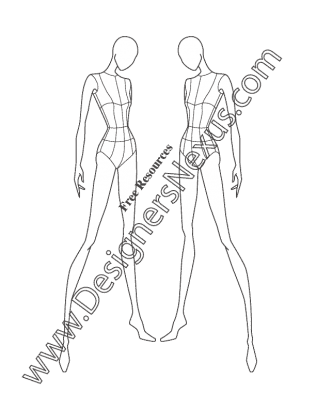 Drawing resources female. Fashion pose v three banner royalty free library