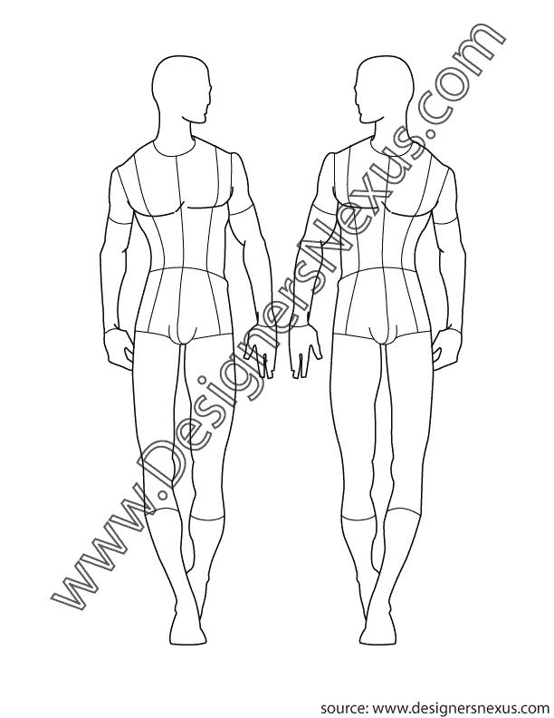 Drawing mannequins croquis. Male fashion croqui template