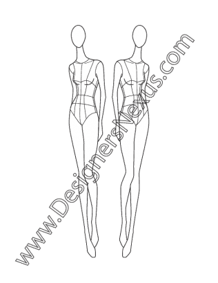 Drawing mannequins fashion illustration. Female croqui v three
