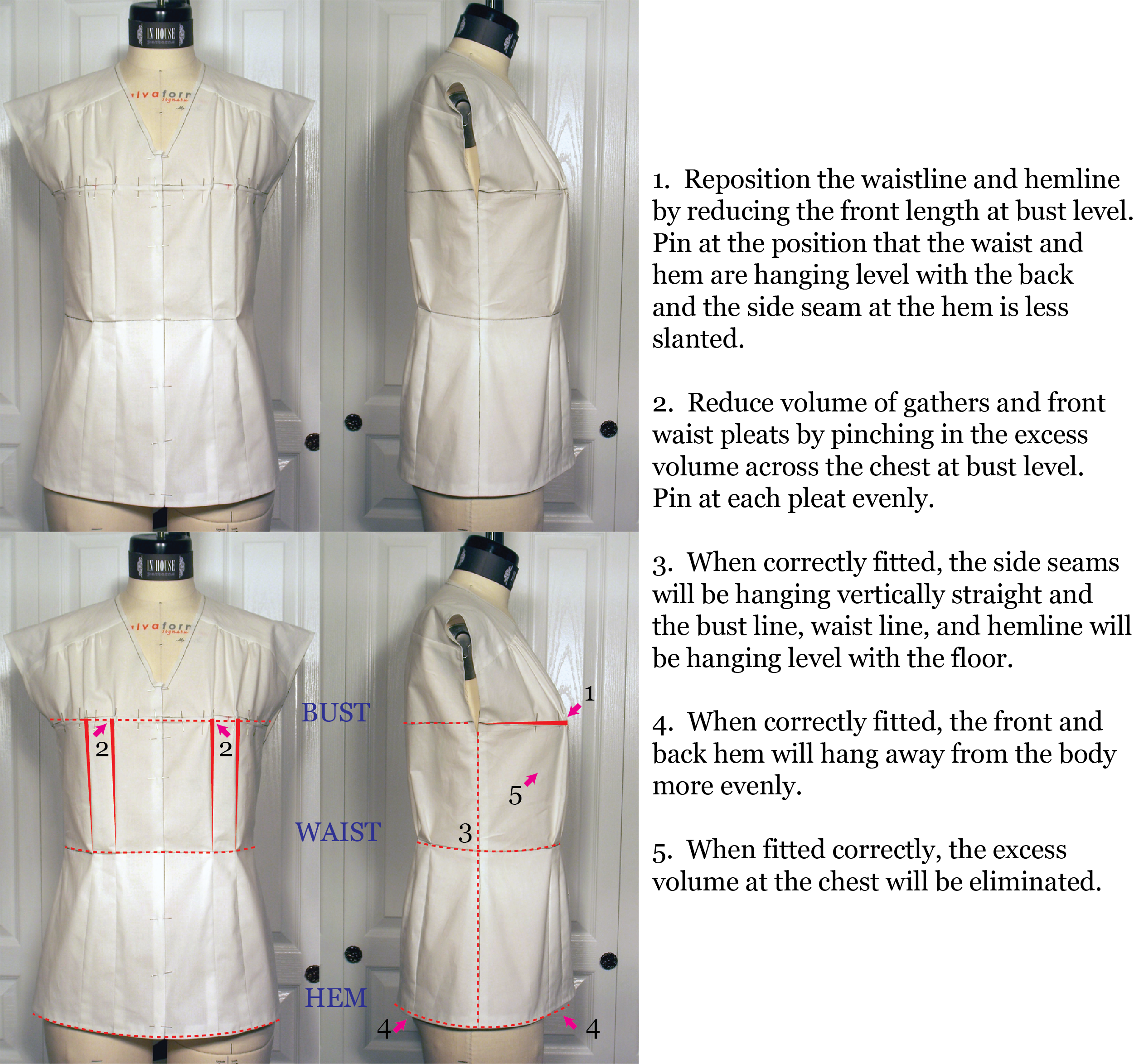 Drawing mannequins front back. Fitting and pattern corrections