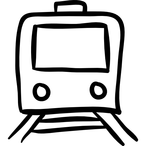 Drawing icons outline. Train hand drawn free
