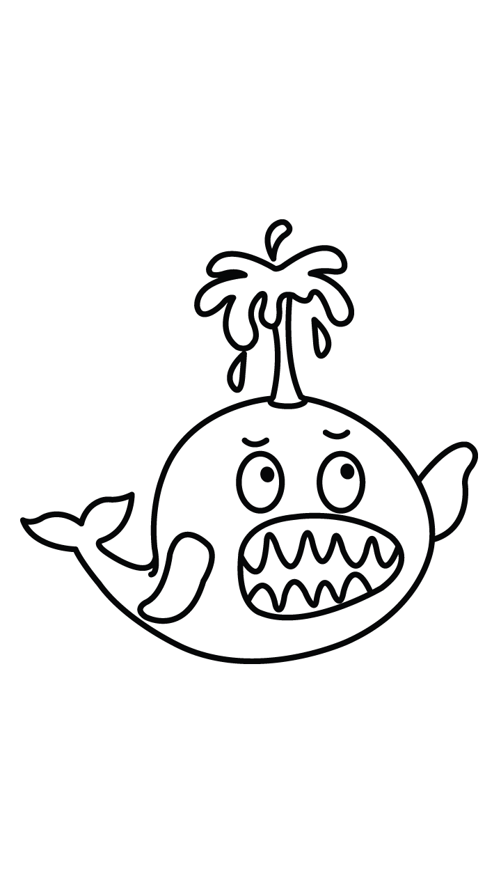Drawing manuals section. Angry cartoon whale http
