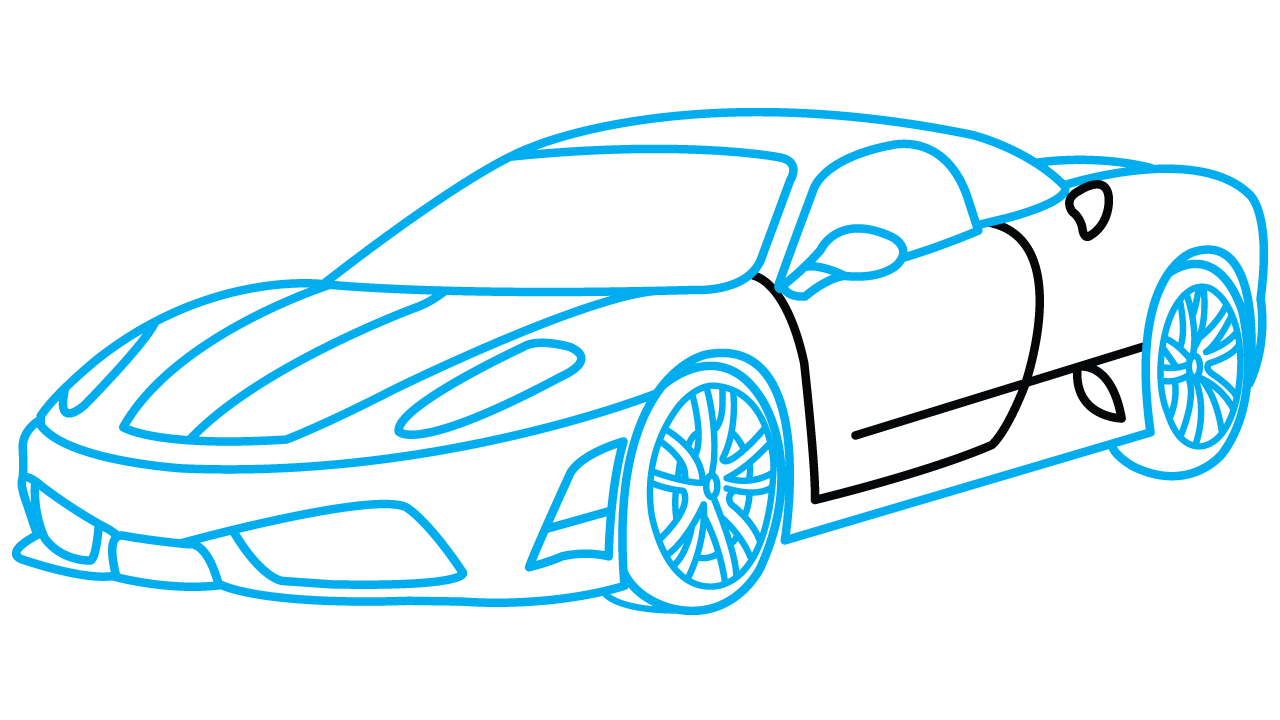 Drawing manuals. How to draw ferrari