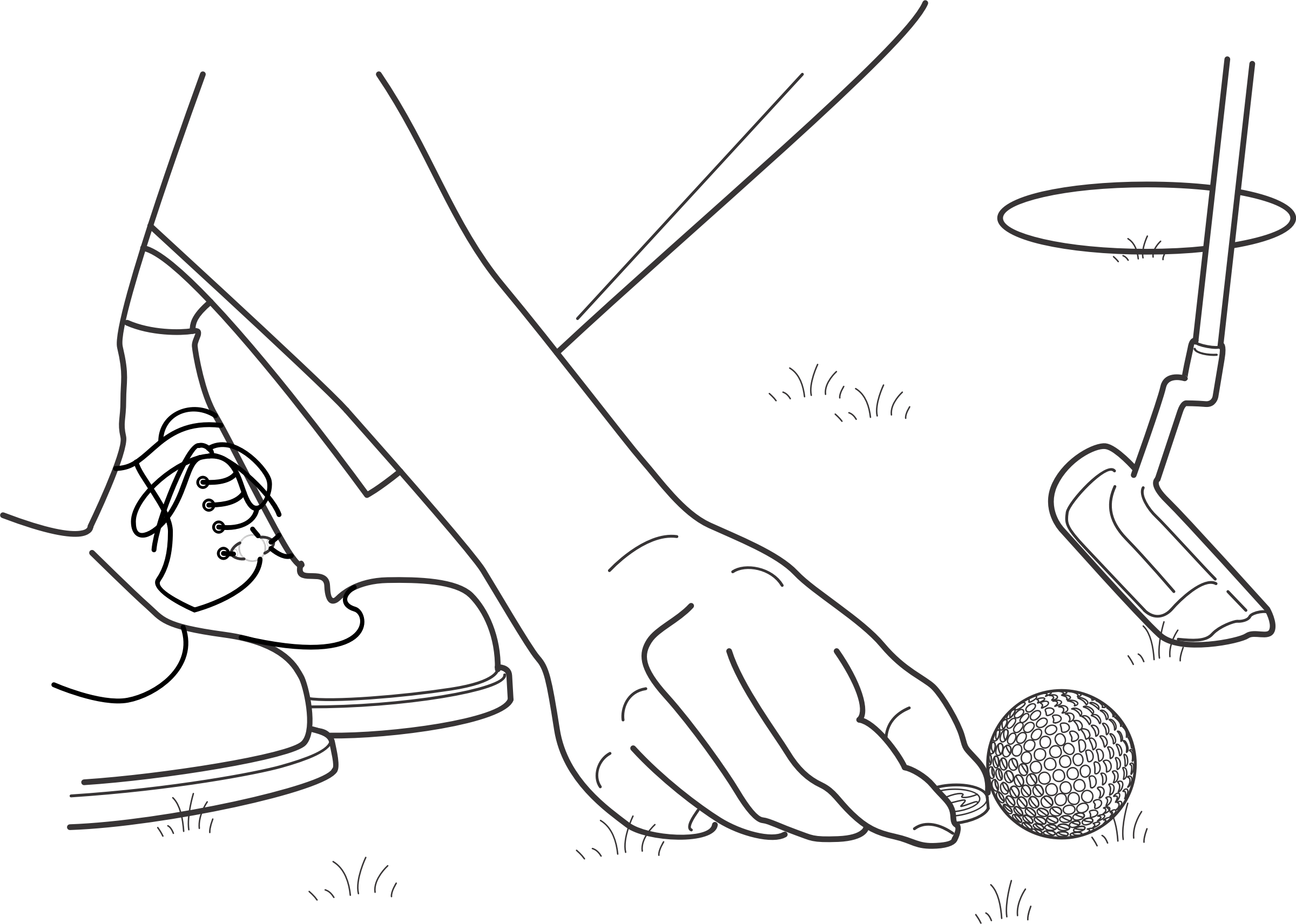 Drawing marker arm. Clipart golf ball location