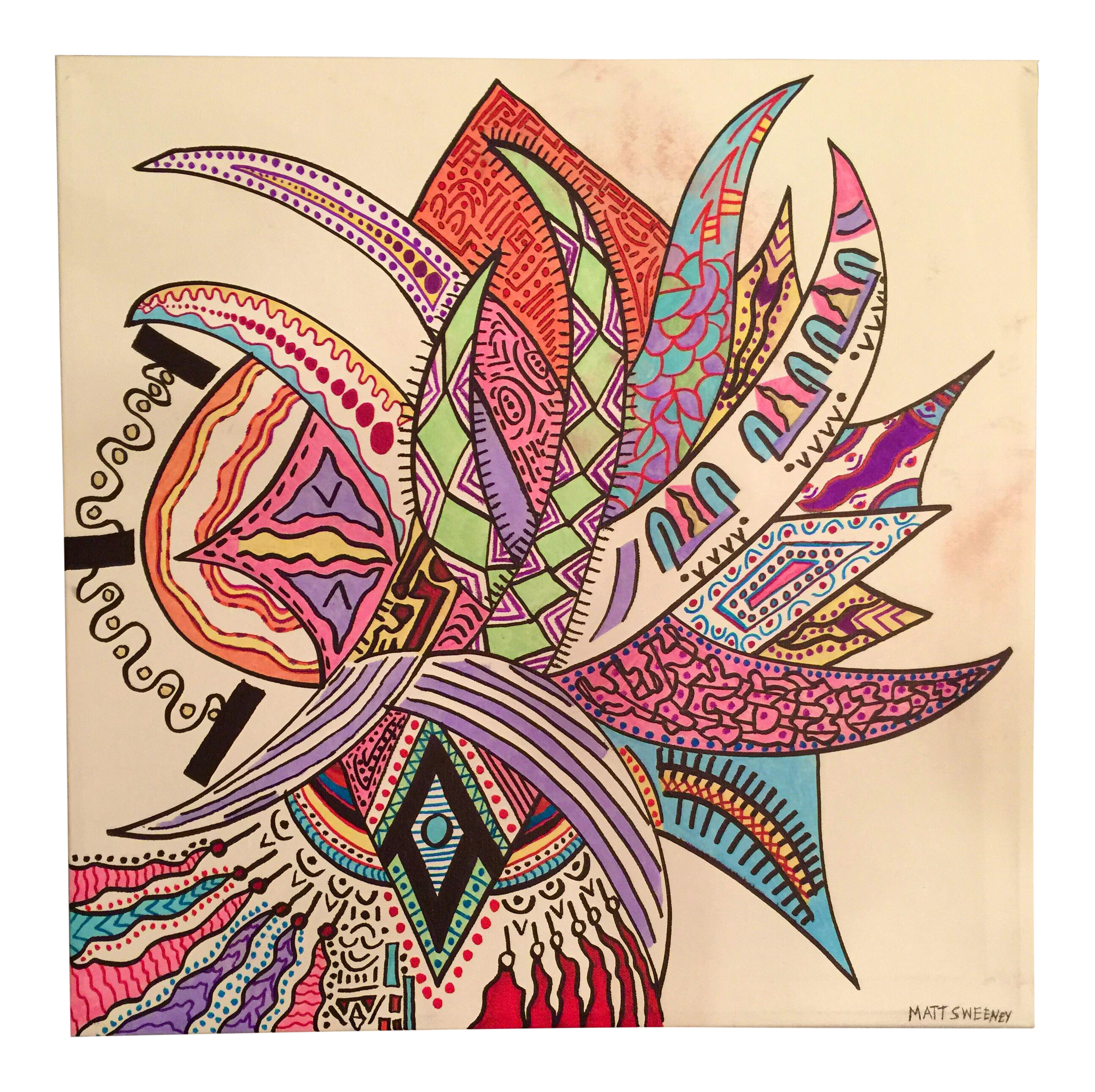 Drawing marker art. Abstract on canvas chairish