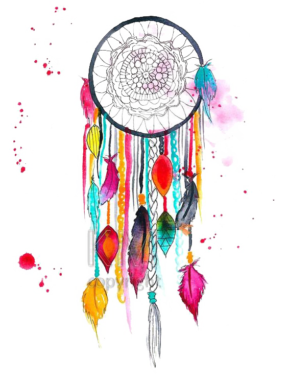 Colored drawing dreamcatcher. Art watercolor painting transprent