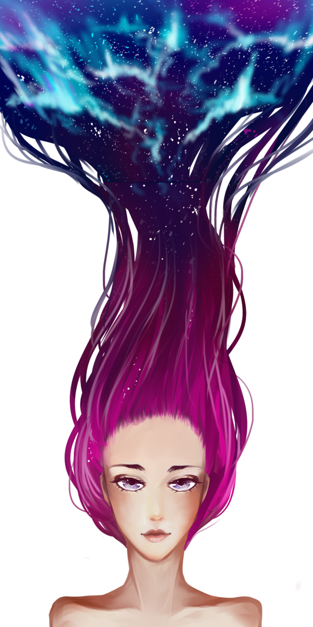 Drawing marker galaxy. Hair by tea of