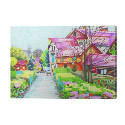 Drawing marker landscape. Unusual original painting of