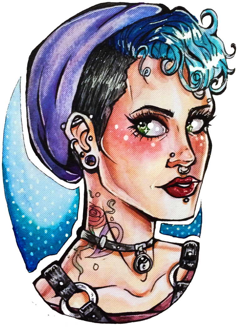 Drawing marker portrait. Punk girl by chrisily