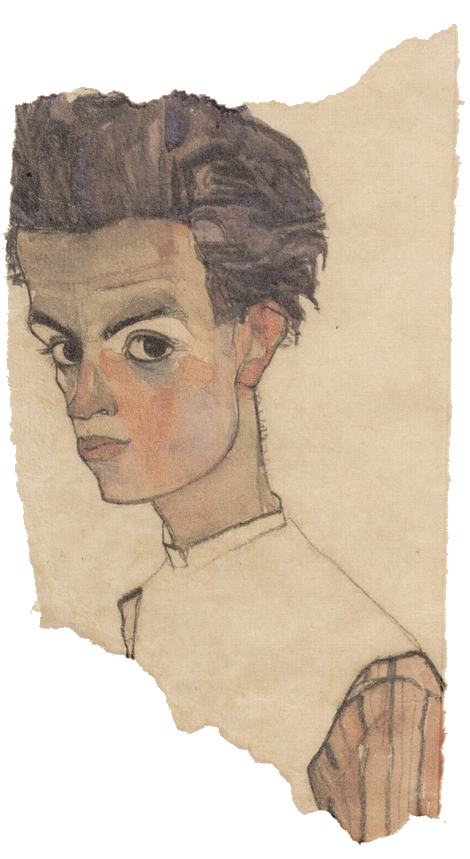 Drawing marker portrait. Self egon schiele art