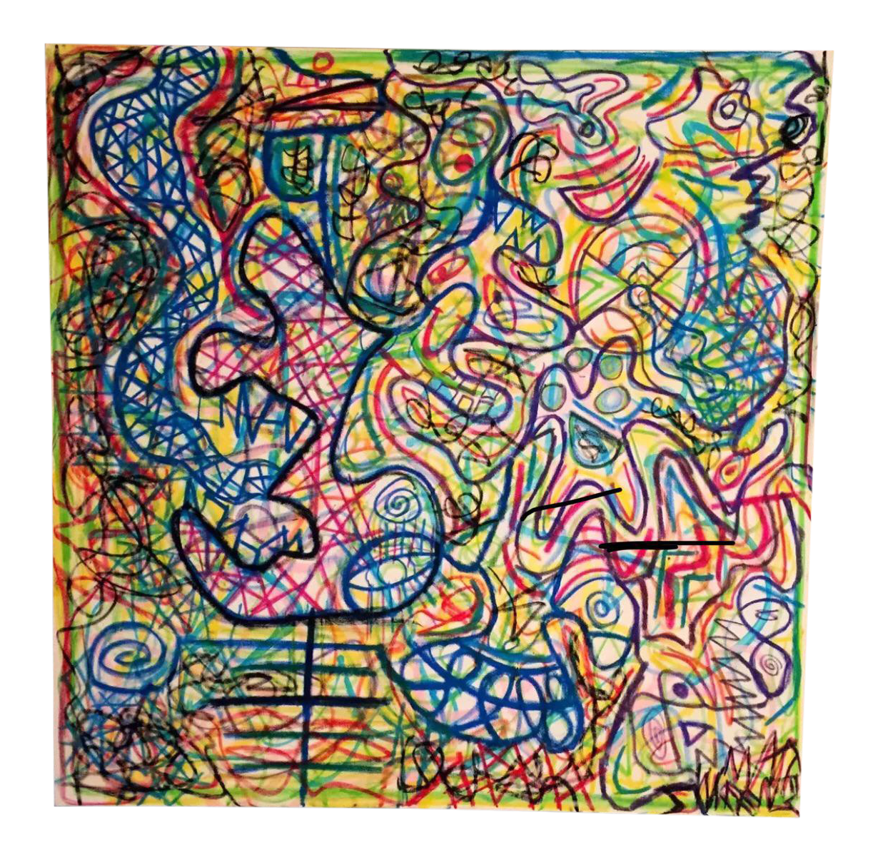 Drawing marker psychedelic. Oil stick on canvas