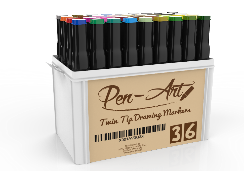 Twin drawing pen. Art permanent markers colors