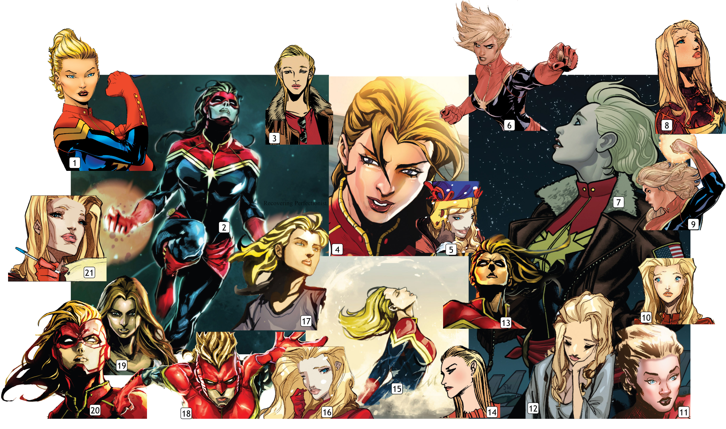 Drawing marvel collage. The many faces of