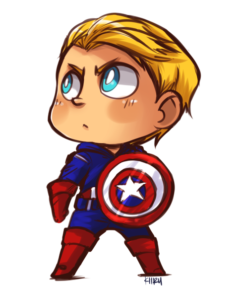 Drawing marvel cute. Captain america by kiirusama