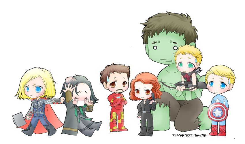 Drawing marvel cute. Avengers assemble by tencinoir