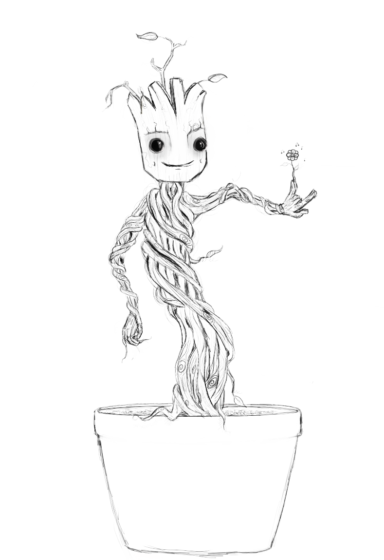 Drawing marvel groot. Collection of free download