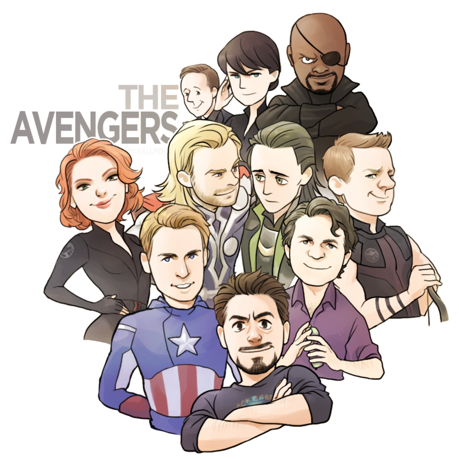 Drawing marvel group. The avengers by hallpen