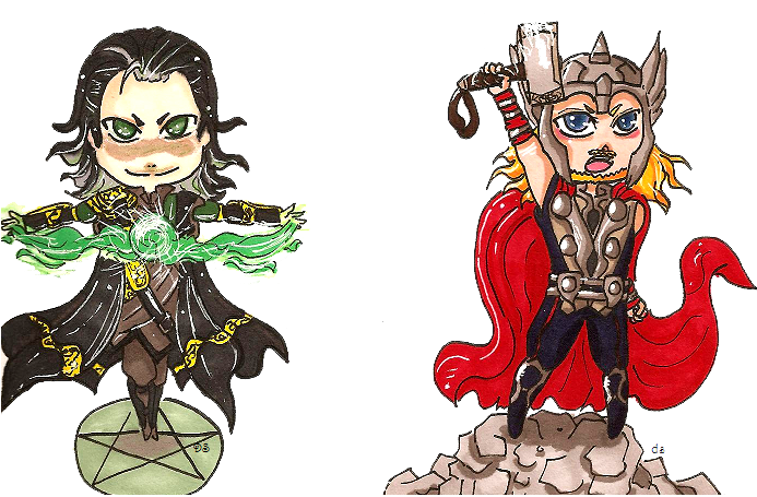 Drawing marvel thor. Avengers tarot and loki