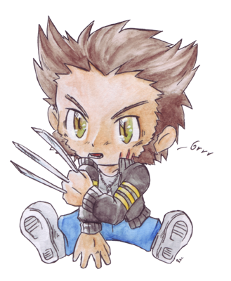 Drawing marvel wolverine. Chibi by racuun on
