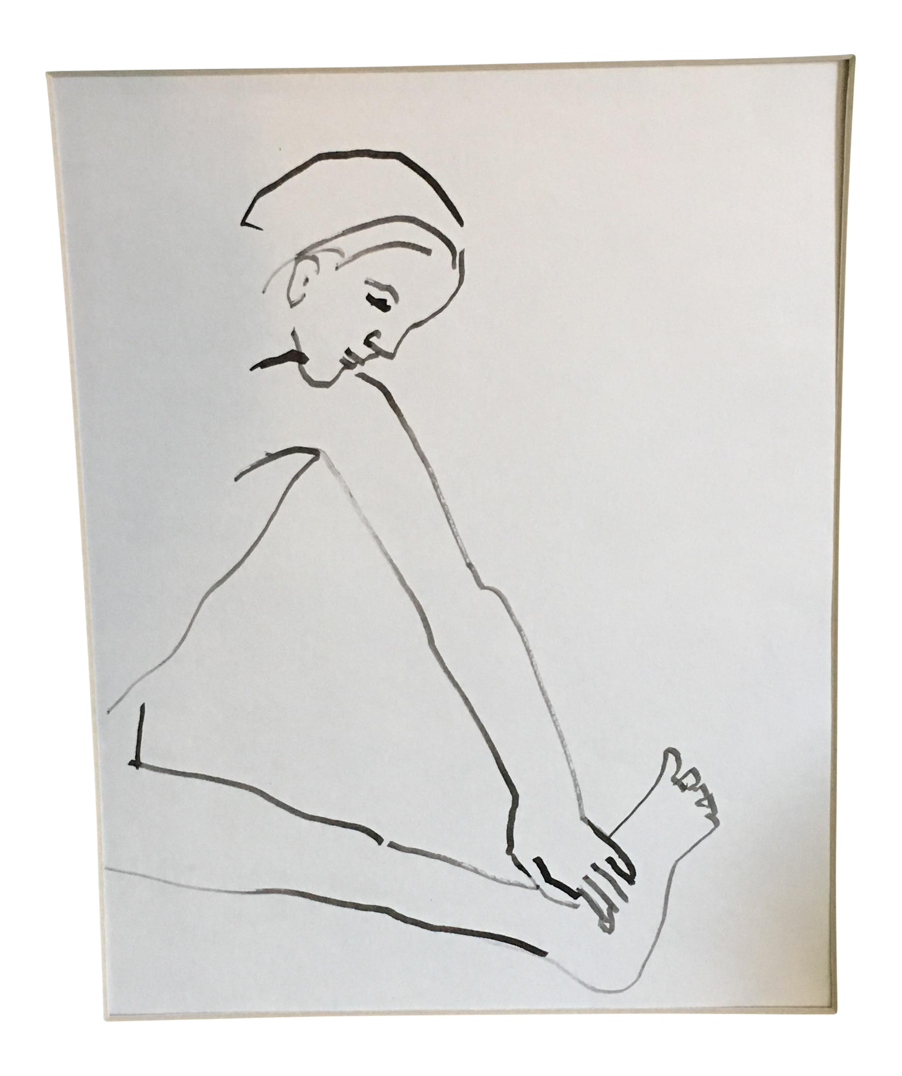 Drawing mat painting. Vintage watercolor figure in