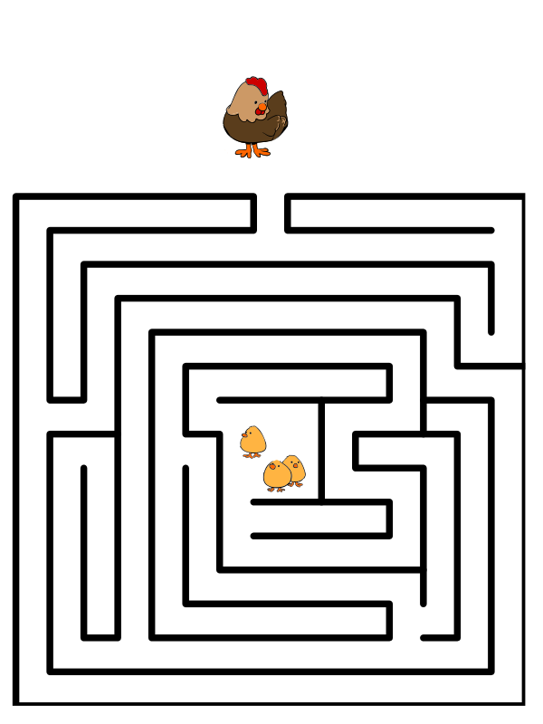 Wikijunior and book hen. Drawing maze transparent download
