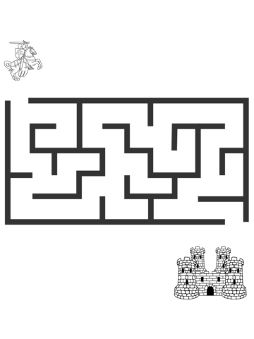 Drawing mazes. A knight searching his