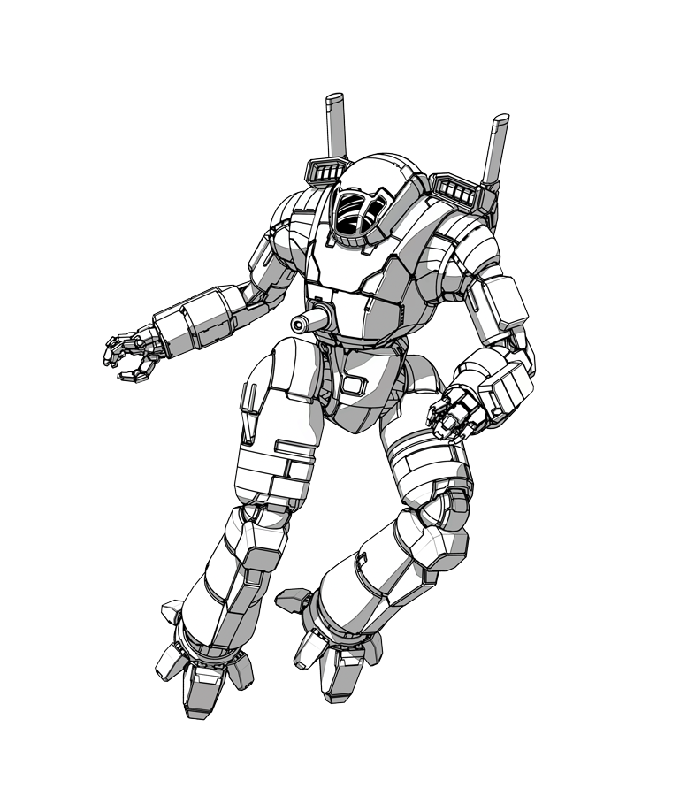 Drawing mechs. Ostscout mech mekton maybe