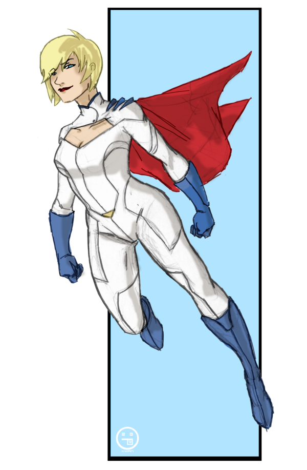Drawing medium female superhero. Powergirl new concept by