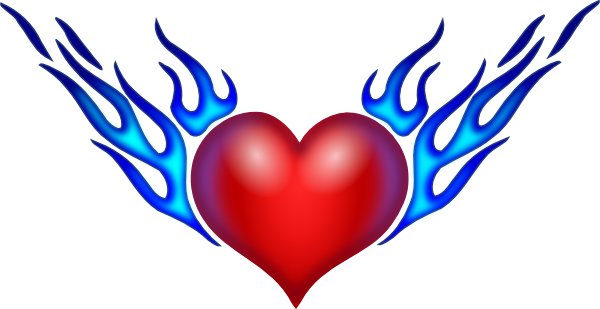 Drawing medium heart. Burning clip art at