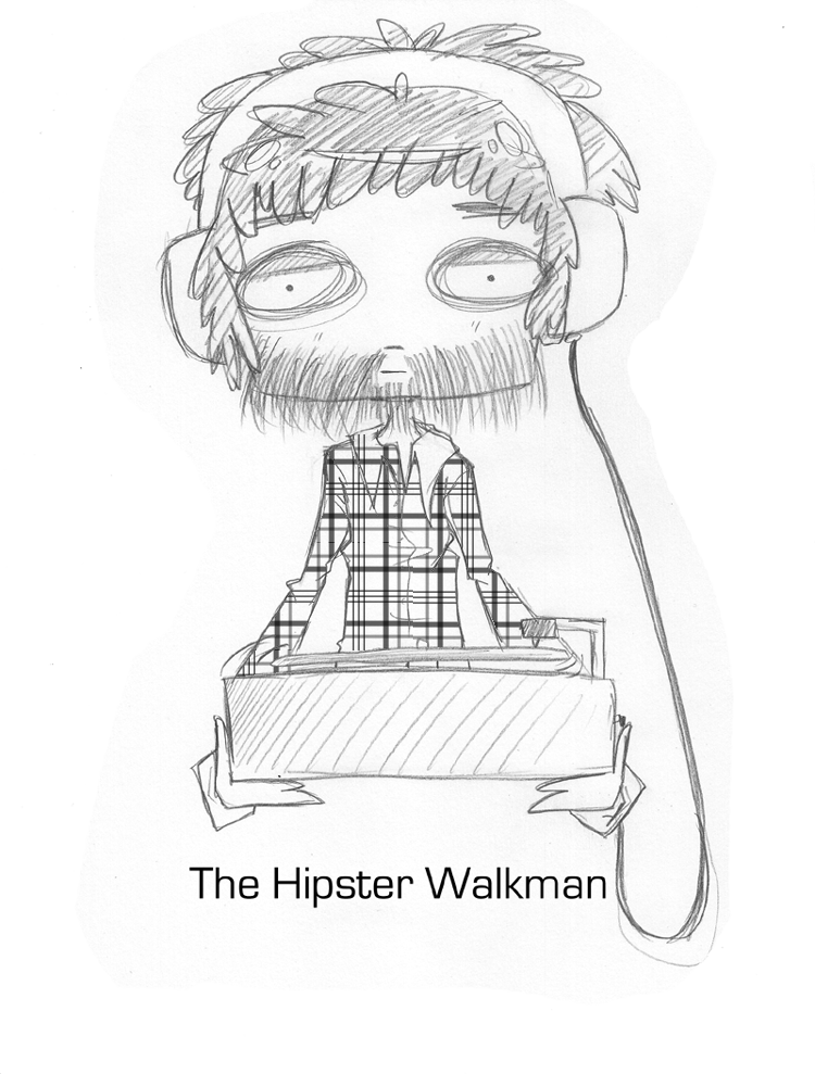Drawing medium hipster. The walkman by capochi