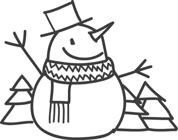 Vector snowman drawing. Free online snow man