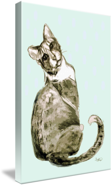 Drawing medium modern. Cat mixed media by