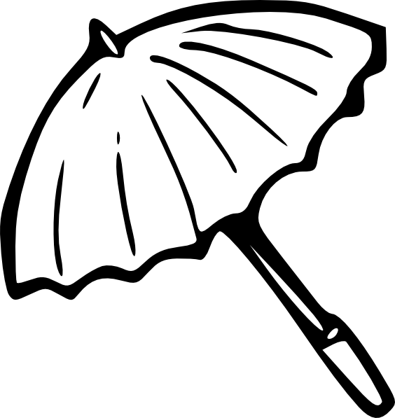 Drawing medium outline. Umbrella clip art at
