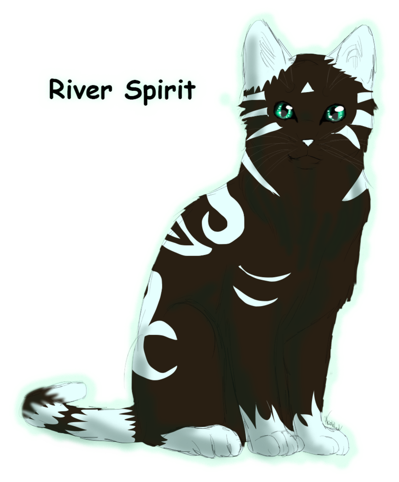 Drawing medium realistic. River spirit sitting by